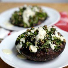 Broccoli and herb-stuffed portobellos