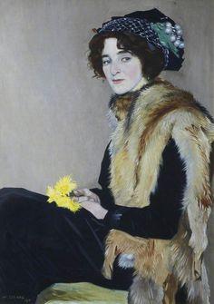 ▴ Artistic Accessories ▴ clothes, jewelry, hats in art - William Strang | Femme avec une cape de fourrure, 1911