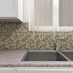 Merola Tile Tessera Mini Brixton 11-3/4 in. x 11-3/4 in. x 8 mm Stone and Glass Mosaic Wall Tile-GDMTMNB - The Home Depot