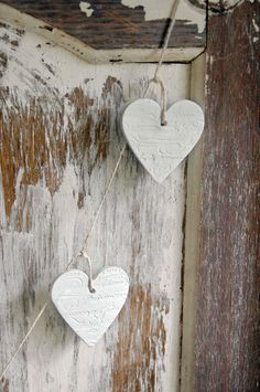 Petite French heart garland—cute clay tags❣ French & Sparrow • madeit.com.au