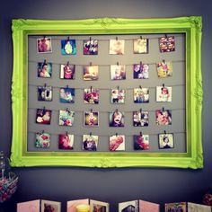 Large frame + Clothes pins + Twine + Instagram photos = Inexpensive decor!