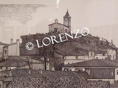 Higueruela, Iglesia Santa Barbara. Dibujo a plumilla sobre papel