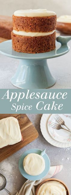 Applesauce Cake - Dense and lightly spiced, smothered with cream cheese frosting, this is the perfect fall snack cake! Recipe includes instructions to make one smaller, less sweet smash cake for a baby and one loaf cake for serving to guests. | theliveinkitchen.com The Live-In Kitchen #cake #smashcake #babycake #applecake #apple #creamcheese #creamcheesefrosting #spicecake