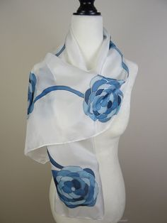 Hand Painted Teal Floral Silk Scarf