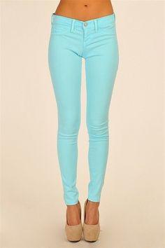 Tiffany blue jeans, so cute!