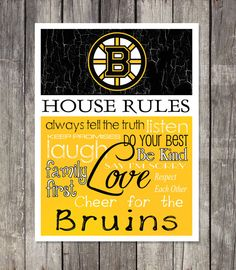 This professionally designed print is perfect for any hockey fans game room, man cave, garage or bedroom! SUPPORT YOUR FAVORITE TEAM with rules Boston Bruins Hockey, Hockey Mom, Hockey Teams, Boston Red Sox, Boston Sports, Dont Poke The Bear, Garage, Boston Strong, House Rules