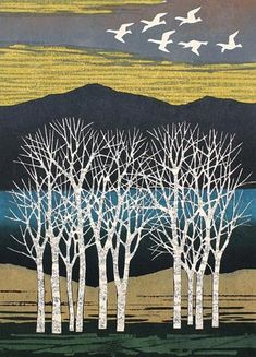 Japanese art Fumio Fujita (Japanese, b. White Trees and Birds Color woodblock, Landscape Quilts, Landscape Art, Japanese Prints, Japanese Art, Linocut Prints, Art Prints, Block Prints, Art And Illustration, Illustrations