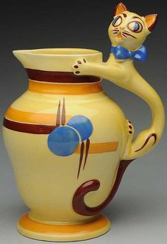 Cats in Decorative Arts: Czech Pottery Cat Handle Pitcher