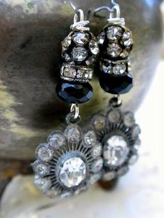 Vintage Rhinestone Earrings~