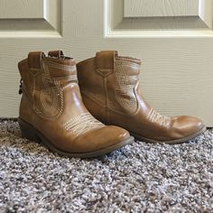 Cute booties !!!! Tan , comfortable and a little westernized booties! American Rag Shoes Ankle Boots & Booties