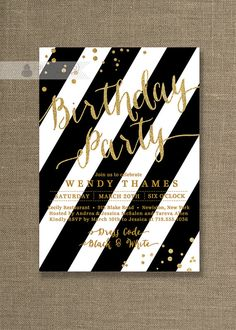 Gold Glitter Birthday Party Invitation with classic bold Black & White stripes and gold glitter confetti details. Available at digibuddha.com