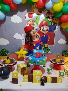 Festa Mário Bros Mario Birthday Cake, Super Mario Birthday, Super Mario Party, 30th Birthday Parties, Mario E Luigi, Mario Kart, Princess Peach Party, Peach Mario, Baby Party