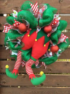 Elf butt bottom plush legs deco mesh wreath by AnnesAdoorables on Etsy