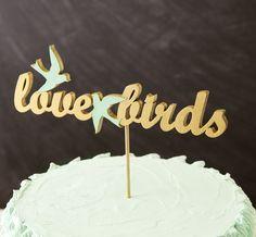 Love Birds Cake Topper in Gold Mint Love Birds - via Etsy.