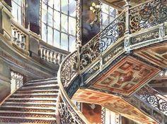 Palacio de Mineria. Mexico City DF national art museum. Detail under staircase. Italian iron work stairs