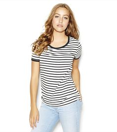 https://yroo.com/af/1514009/ruid/21327 Striped Ringer Tee Sweet Cream Combo