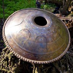 GUDA drum Standart Lotos design (with mantras) http://gudadrum.com #gudadrum, #tonguedrum, #differencemakesus, #handpan #steeltonguedrum #yoga #percussion #meditation #drum #music #design #drumuniversity @etsy