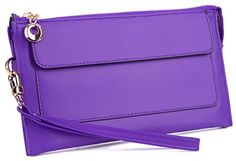 YALUXE Women's Large Capacity Leather Wristlet Clutch Wallet fit iPhone 6 Plus/ Samsung Note 5 Fuchsia