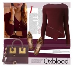 """""""Hot Color Trend: Oxblood"""" by sofi-danka ❤ liked on Polyvore featuring Rebecca Taylor, Belstaff, Sophie Hulme and Gianvito Rossi"""