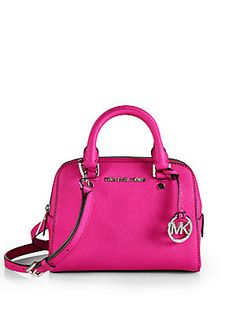 MICHAEL MICHAEL KORS Jet Set Small Satchel So at $228 This one fits all the qualifications but seems a little small for that price. Although the color is beautifully vibrant. Seems like it would have been prettier with rose or yellow gold hardware. Mike call me you need to hire me, LOL.