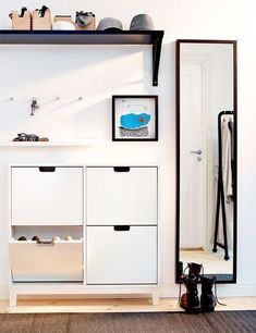 IKEA - STÄLL, Shoe cabinet with 4 compartments, white, Helps you organize your shoes and saves floor space at the same time. The cabinet only has legs at the front so it can stand close up to the wall above the baseboard. of 8 pairs of shoes. Entryway Shoe Storage, Ikea Storage, Storage Ideas, Paint Storage, Storage Racks, Entryway Ideas, Organized Entryway, Organization Ideas, Shoe Cabinet Entryway