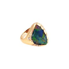 Black Opal & Diamond Ring - The Goldsmiths & Silversmiths Co. Collection