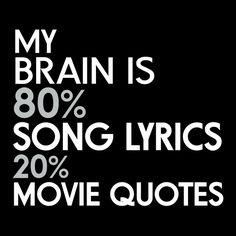 My Brain is 80% Song Lyrics 20% Movie Quotes - NeatoShop