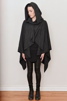 NUIT — Mythic Hooded Wool Cape, Heather Grey