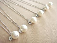 Bridesmaid Gift 6 Cream or White Pearl Hand Stamped by Beazuness, $113.40