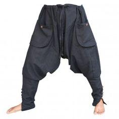 Pantalones Sarouel - algodón - negros