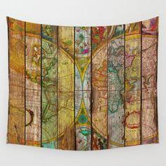 Around the World in Thirteen Maps Wall Tapestry