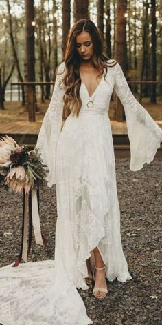 Long Sleeve Wedding Dress Boho, Boho Chic Wedding Dress, Rustic Boho Wedding, Bohemian Wedding Dresses, Boho Dress, Dresses Short, Nice Dresses, Engagement Dresses, Bridal Gowns
