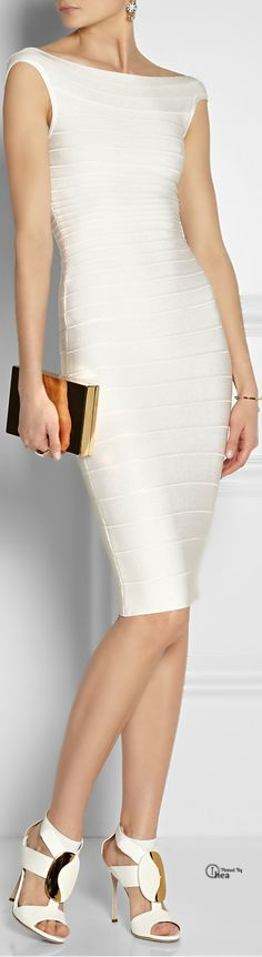 Hervé Léger ● White off-the-shoulder bandage dress