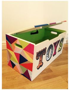 Painted Toy Chest, Wooden Toy Chest, Painted Trunk, Painted Boxes, Hand Painted, Toy Boxes For Sale, Kids Toy Boxes, Toy Storage Boxes, Dyi Toy Box