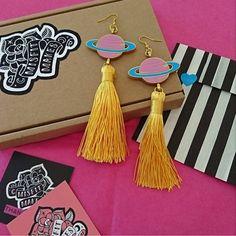 Planet Tassel Earrings. Saturn. Ringed Planet Earrings. Yellow Tassel Earrings. Laser Cut Plastic Jewellery. Dangle Earring. Space. by MisfitMakes on Etsy https://www.etsy.com/uk/listing/524038783/planet-tassel-earrings-saturn-ringed