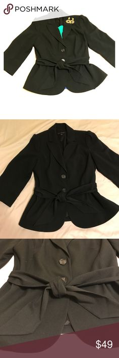 Black Peplum Blazer This black peplum blazer will make you feel feminine even in a blazer! The sash accentuates the waist and is very flattering. Pair this with a skirt or pants and your ready for the day! Go from day to night in this fun blazer. Make me an offer! Banana Republic Jackets & Coats Blazers