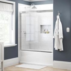 Delta Classic 400 Curve 60 in. x 62 in. Frameless Sliding Tub Door in Stainless-B55910-6030-SS - The Home Depot Glass Shower Panels, Shower Walls, Shower Tub, Glass Panels, Shower Door Handles, Traditional Bathtubs, Traditional Bathroom, Bathtub Doors, Glass Bathtub Door