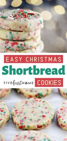shortbread cookies Super simple to make Christmas recipe with only a few ingredients! Loaded with festive sprinkles, this Christmas cookie recipe is the perfect addition to your holiday cookie platter! Save this Christmas snack or dessert treat for later! Christmas Snacks, Christmas Cooking, Holiday Treats, Christmas Parties, Holiday Recipes, Dinner Recipes, Christmas Time, Snacks Recipes, Baking For Christmas
