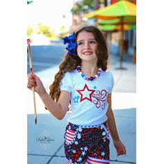 July 4 Stars and Stripes Sailor Shorts and Glitter T Shirt Sewing Kit by AllegroFabrics Sizes 3 months- 8 years