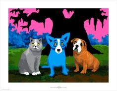 """Blue Dog Print """"The Three Amigos"""" George Rodrigue Signed Numbered 233 500 Cat 