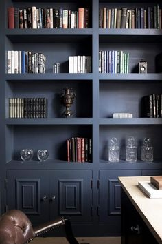 navy bookcase for a scholarly study