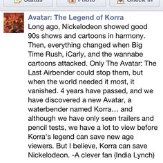 Though I'm still not super fond of Legend of Korra (it's the original Avatar: The Last Airbender for me!) Korra is definitely a LOT better than most of the crap on Nick nowadays.  This pic is awesome ;D