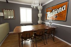 I like the gray and use of vintage sign.    Living With Kids: Brooke Fish