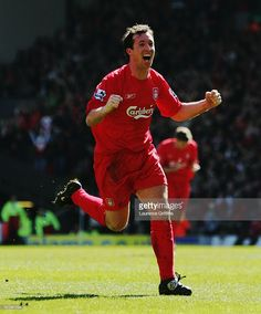 Robbie Fowler of Liverpool celebrates scoring the opening goal during the Barclays Premiership match between Liverpool and Bolton Wanderers at Anfield on April 2006 in Liverpool, England. Liverpool Legends, Liverpool Football Club, Liverpool Fc, Liverpool England, Kenny Dalglish, Bolton Wanderers, Europa League, Baseball Cards, Celebrities