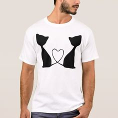 Cats with heart black and white T-Shirt - valentines day gifts love couple diy personalize for her for him girlfriend boyfriend