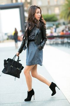 Gianvito Rossi Suede ankle boots in black San Francisco  :: Chambray dress