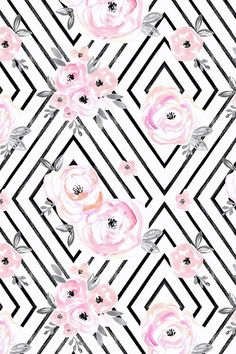 Blush Roses Mod by crystal_walen - black and white stripes and pink roses on fabric wallpaper and gift wrap. Beautiful hand painted watercolor roses.