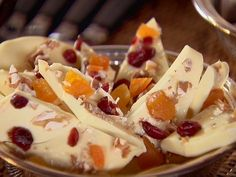 Chocolate Bark with Cranberries, Apricots & Nuts.-  If you're gonna eat chocolate, put some good stuff in it too! :)