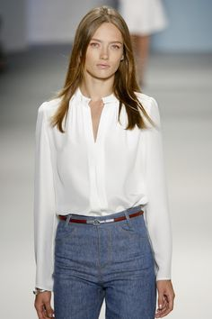 I love this Derek Lam look for summer workwear. Simple blouse, high waisted trousers.