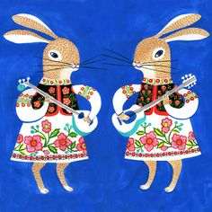 Bunnies with balalaikas.